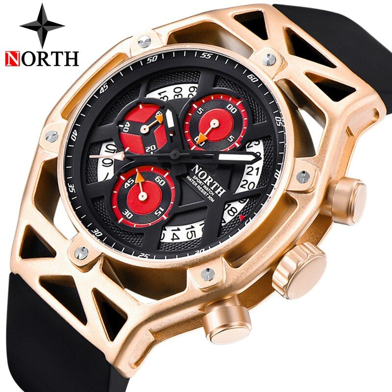 NORTH Mens Watches Top Brand Luxury Chronograph Quartz Watch Men Analog Date Casual Military Sport Wrist Watch Relogio Masculino