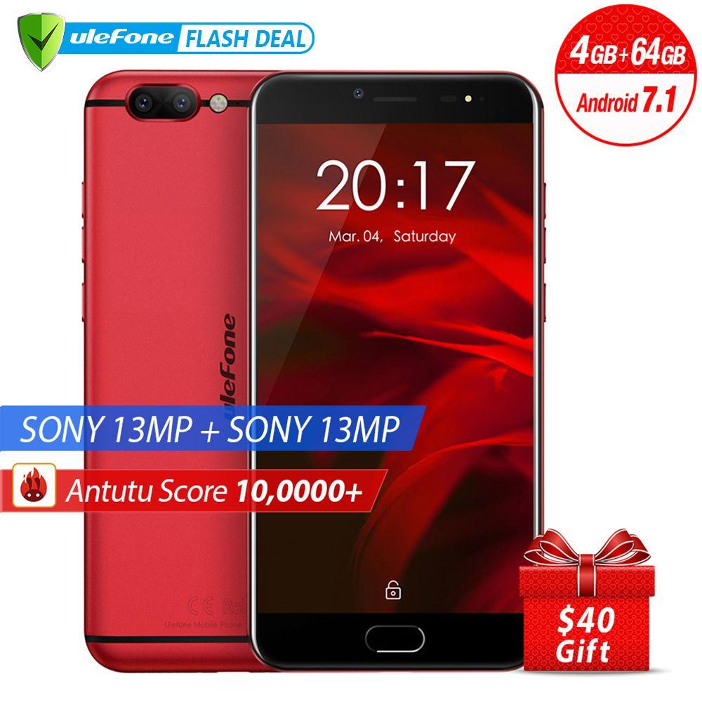Ulefone Gemini Pro Double Caméra Smartphone 5.5 pouces FHD MTK6797 Deca Core Android 7.1 4 GB + 64 GO D'empreintes Digitales ID 4G mobile téléphone