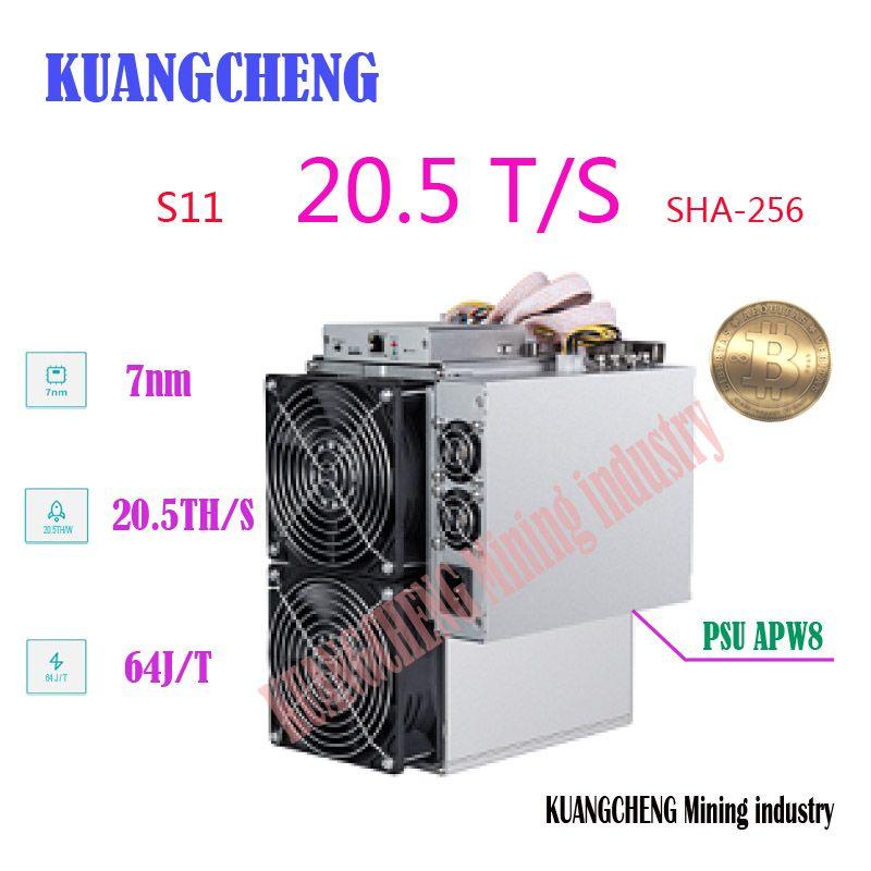 Newest BITMAIN AntMiner S11 20.5T 16nm BCH BTC SHA-256 Miner Better Than T9 S9 S9j S15 T15 Z9 Mini WhatsMiner M10 M3 Avalon 921