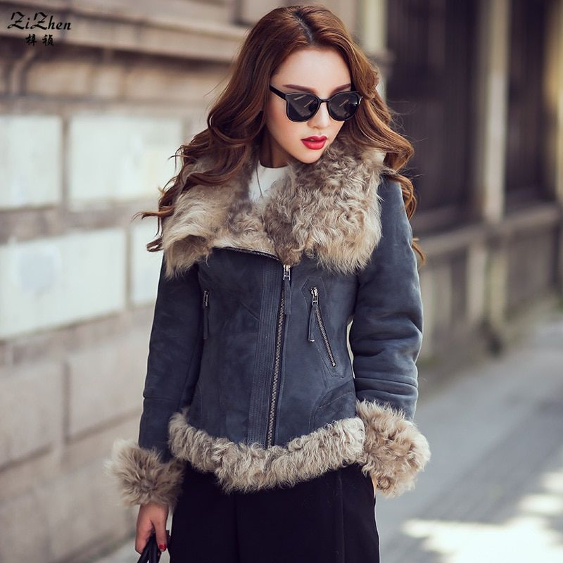Winter Warm Short Genuine Sheepskin Suede Overcoat Real Natural Lamb Fur Coat Double-faced Fur Jacket For Women Pockets 160823-7