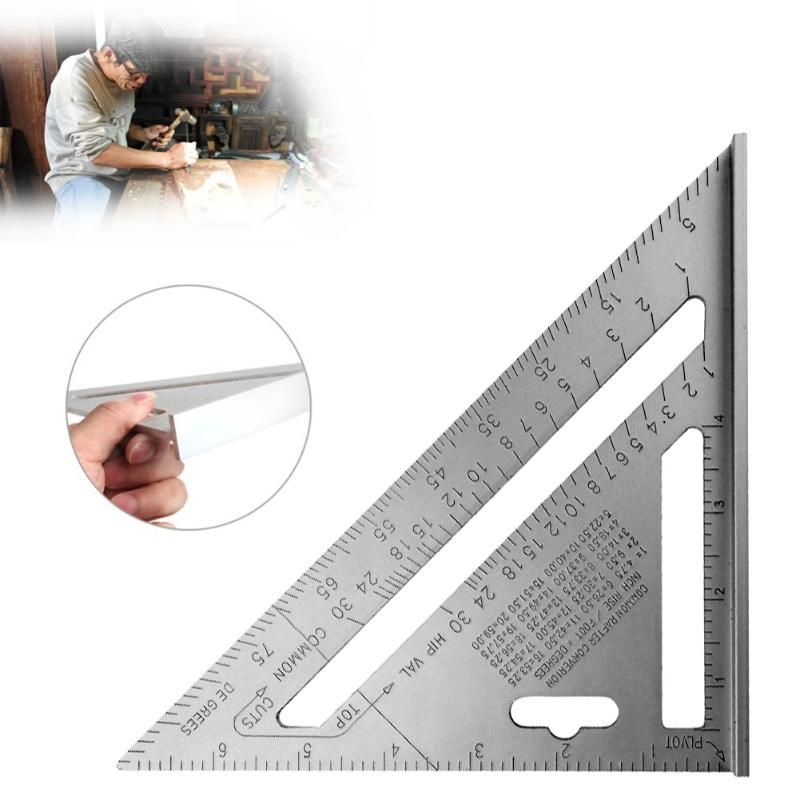 7 inch Silver Metric Alloy Speed Square Roofing Ruler Triangle Angle Protractor Square Carpenter Measuring Sharpener Layout Tool