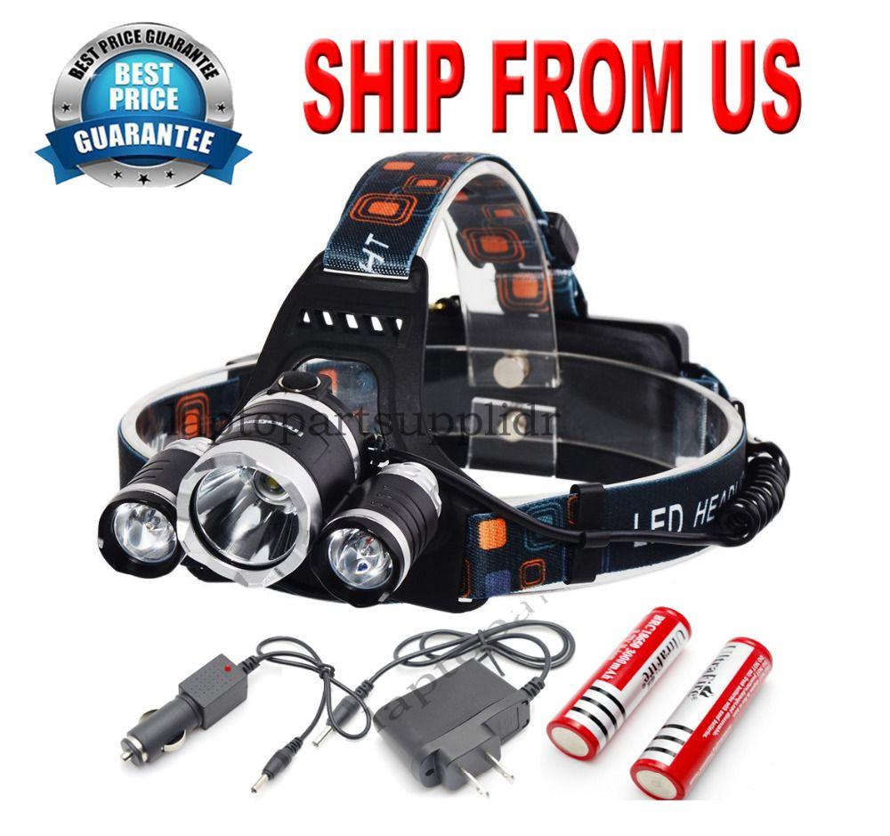 Jagd Camping Wandern USB 8000lm 3x Led-scheinwerfer Lampe Scheinwerfer Scheinwerfer Stirnlampe Wiederaufladbare Licht 18650 Batterie