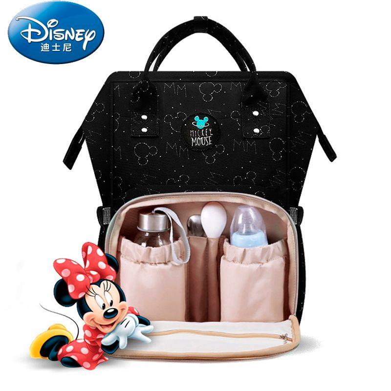 Disney imperméable à l'eau USB chauffage sac à couches enfant en bas âge maman sac à dos à couches Cartoon Micky sac de voyage grande capacité