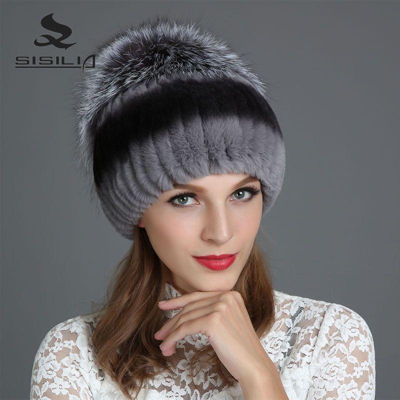 SISILIA 2017 Mode D'hiver Nouvelles Femmes Chapeaux Avec Réel de Fourrure De Renard chapeau Pom Poms Chapeaux D'hiver Chaud Tricoté Coton Bonnets Femelle Cap