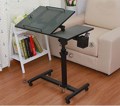 Quality Metal Rolling Laptop Desk Stand Height&Angle Adjustable Rotate Laptop Table for Bed with Pen Holder Computer Desk