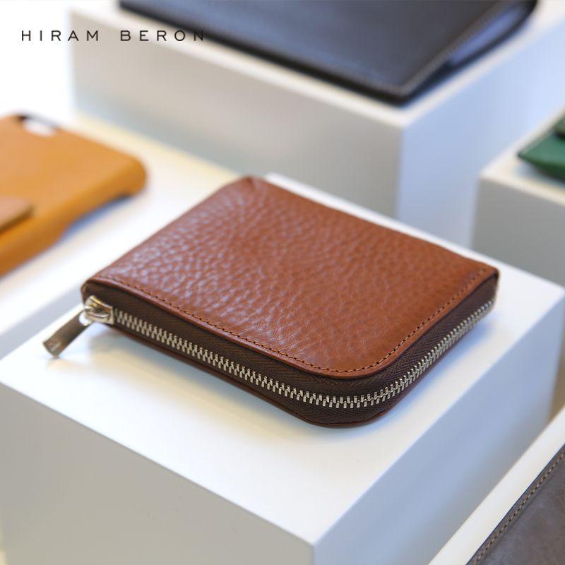 Hiram Beron porte-monnaie en cuir massif Mini portefeuille à glissière petit sac à main en cuir tanné végétal gratuit personnalisé hommes sac à main avec boîte