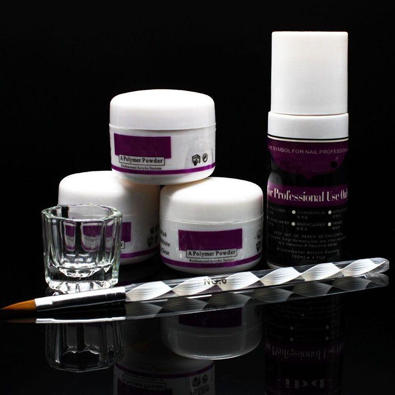 6pc / set Pro Simply Nail Art Kits Acrylic Liquid Powder Pen Dappen dish Tools Set