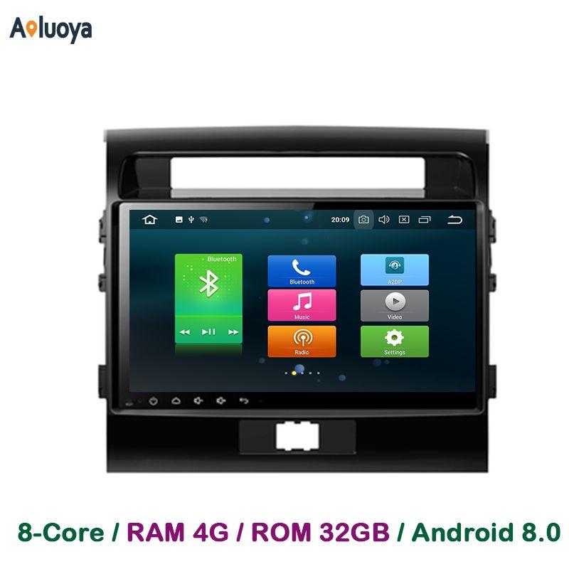 Aoluoya 4GB RAM Android 8.0 Car DVD Radio GPS Navigation For Toyota Land Cruiser 200 LC200 2008-2015 Car audio multimedia DAB+