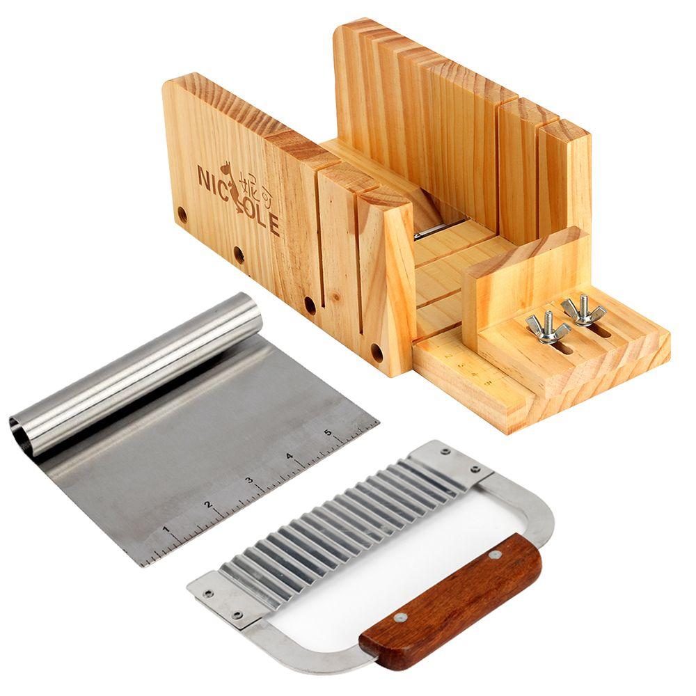 Регулируемый Деревянный каравай Мыло резак + ручкой нержавеющая Crinkle резак + подвижной ручкой 6 дюймов галочка loap Мыло резак