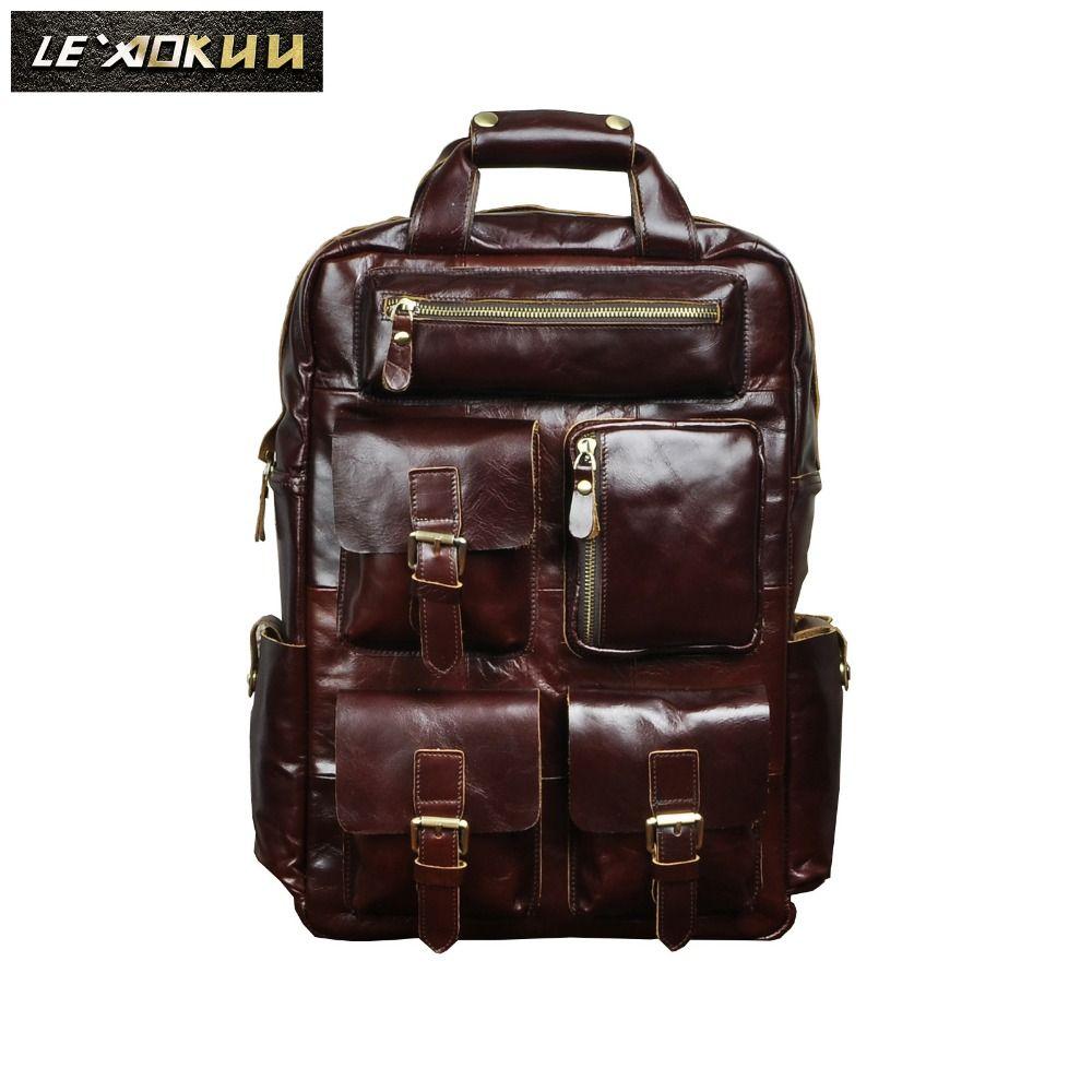 Männer Aus Echtem Leder Mode Reise University College Schultasche Designer Männlich Kaffee Rucksack Daypack Student Laptop-tasche 1170c