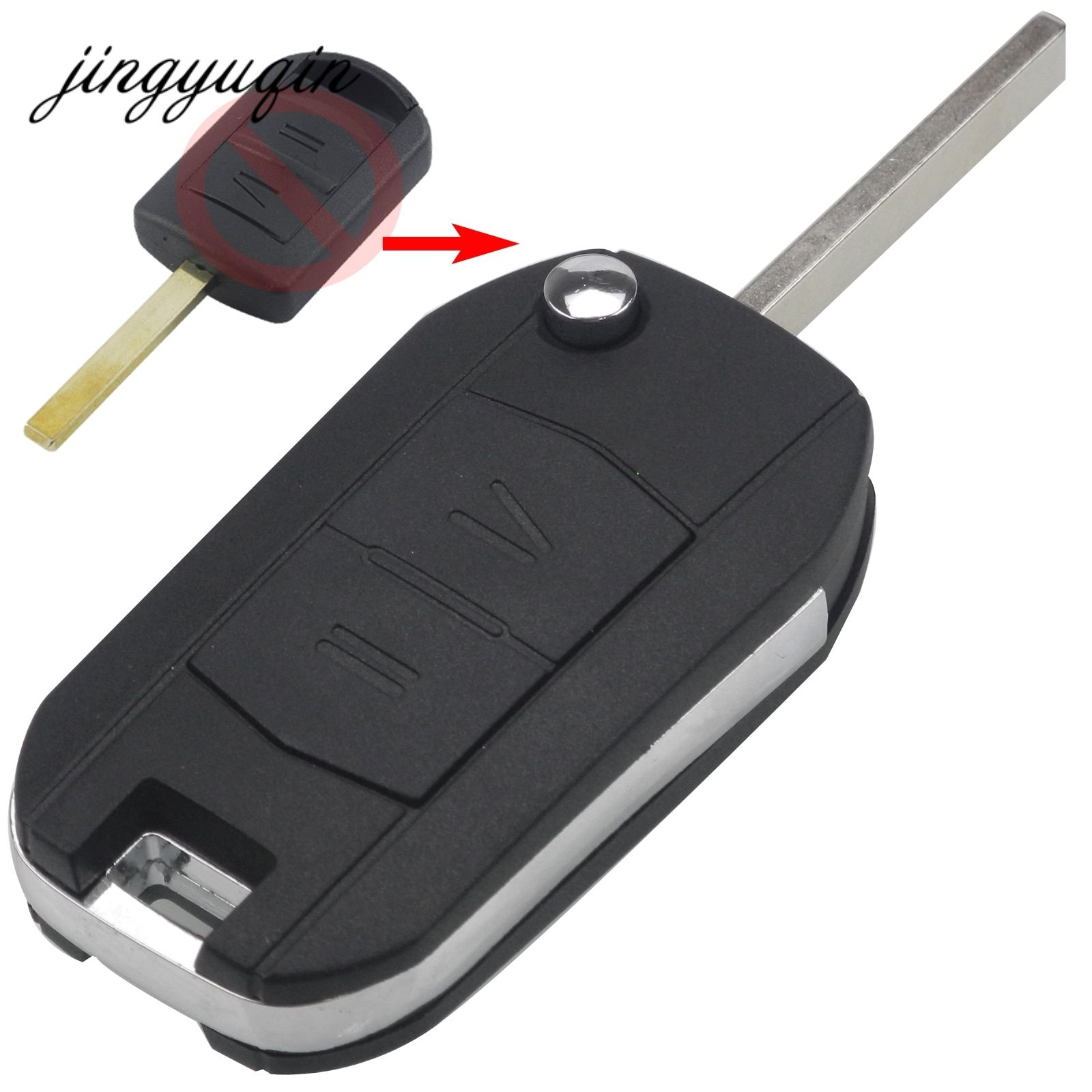 Jingyuqin Modifizierten 2-Taste Remote Key Shell für Vauxhall Opel Corsa Agila Meriva Combo Uncut Klinge Auto Flip Folding Key fall
