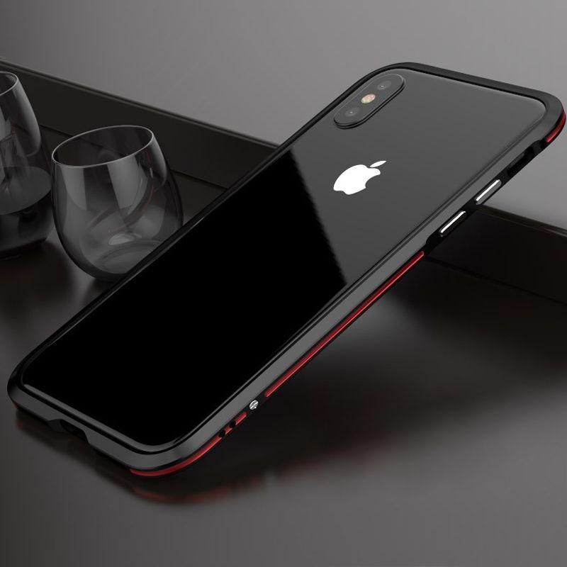 Luphie butoir en métal pour l'iphone x cas de luxe aviation en aluminium cadre téléphone couverture de cas pour l'iphone 8 7 plus double couleur coque funda