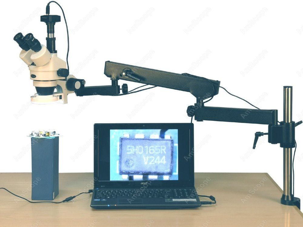 Articulating Arm Microscope--AmScope Supplies 3.5X-90X 144-LED Articulating Arm Zoom Stereo Microscope + 10MP Digital Camera