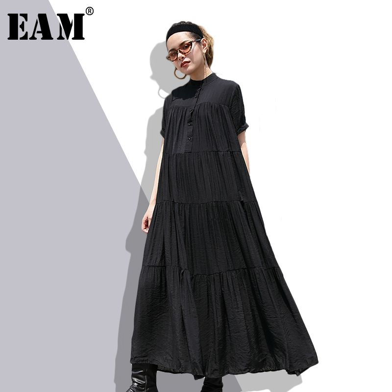 [EAM] 2018 New Summer Stand Collar Short Sleeve Black Pleated Fold Split Joint Loose Long Cake Dress Women Fashion Tide JF080
