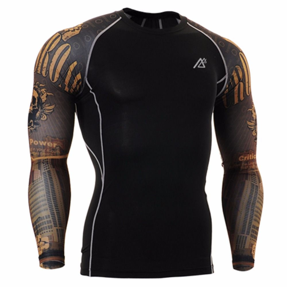 Life on Track Men Yoga Gym Compression Tights Sport T Shirt Fitness Quick Dry Running Tops T-shirts Body Shaper Tee Shirts