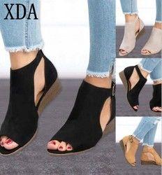 XDA 2018 mujer cuña hebillas boca de los pescados sandalias de gladiador sandalias de las mujeres Mediados de talón sandalias de verano peep toe mujeres zapatos w563