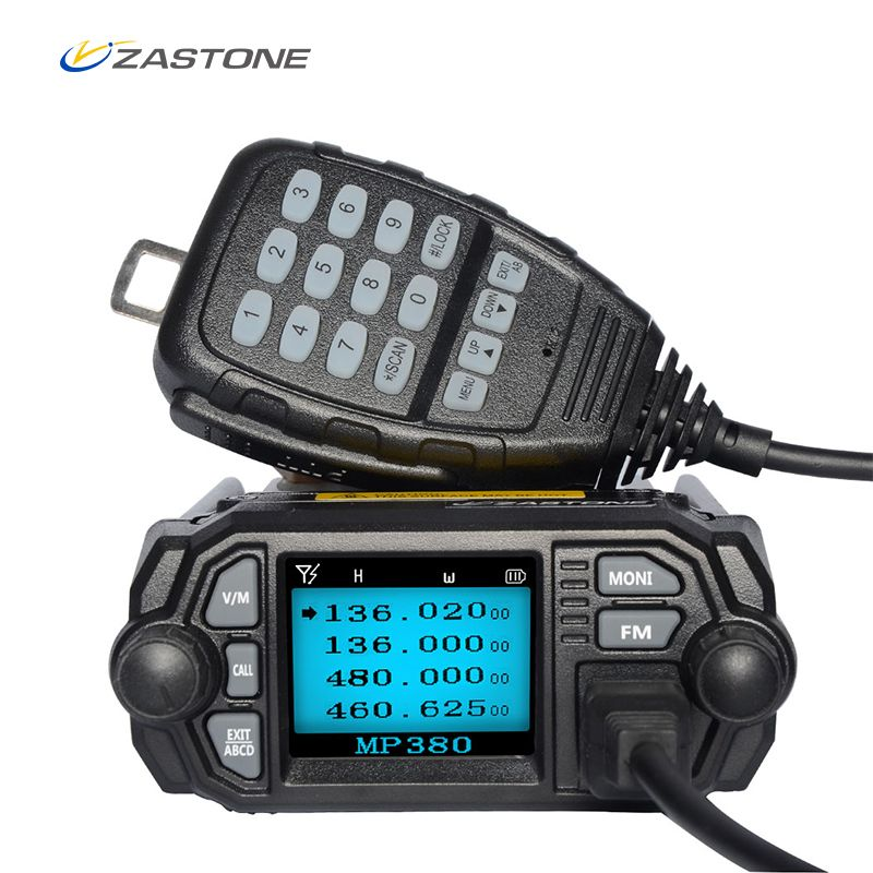Zastone Mobile Radio Walkie Talkie MP380 VHF 136-174MHz UHF 400-480MHz 25W/20W Dual Band Mini Car Radio Station Two Way Radio