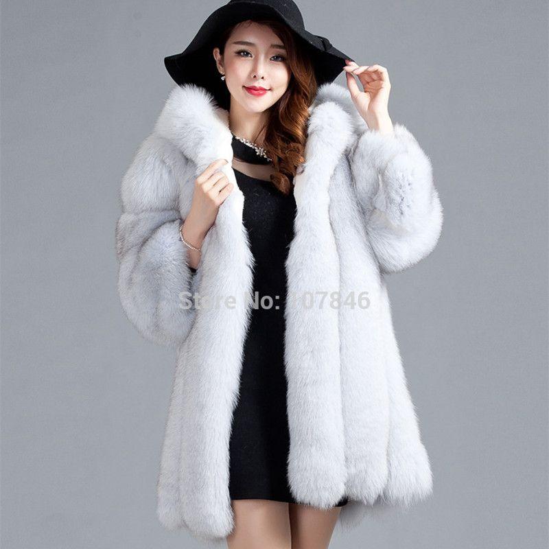 Luxury Lady Genuine Fox Fur Coat Jacket 3/4 Cotton Lining Hooded 3XL Winter Women Fur Trench Outerwear Coats 3XL VK1488