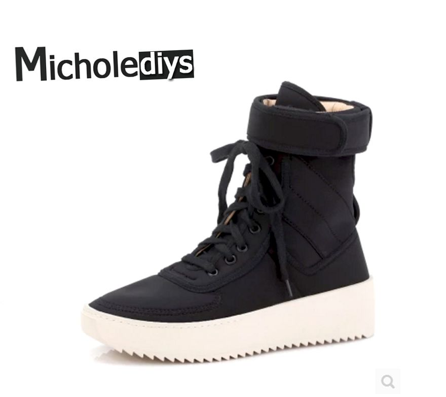2017 Handmade brand High Boots FOG Leather Casual seasons Mens Platform Hiking Sneakers Kanye west Shoes