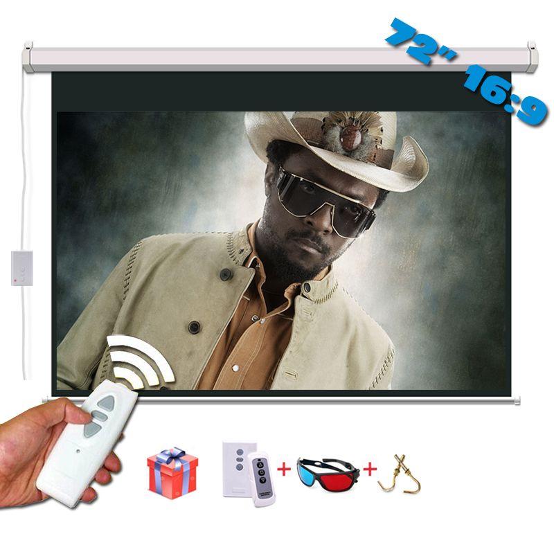 72 pouces 16:9 écran de Projection électrique mat blanc pièce de Projection pour LED LCD HD film écran de projecteur motorisé