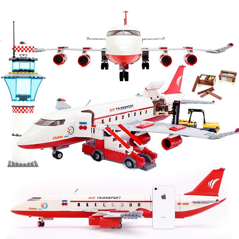GUDI 856 + PCS bloc ville grand passager avion bloc bloc assemblage blocs de construction briques éducatives jouets pour enfants cadeau