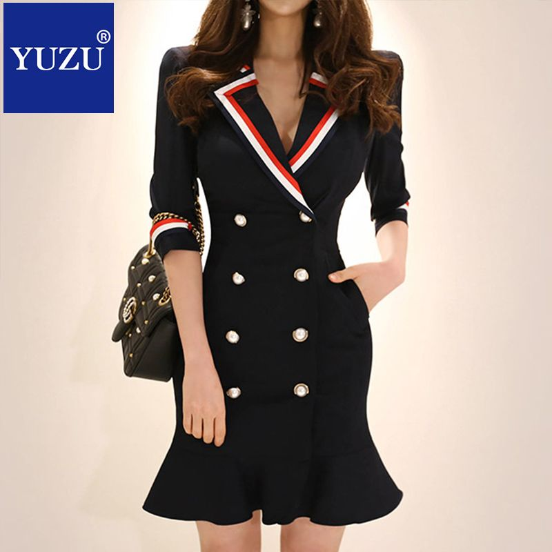 Wonder Woman Blazer Formal Dress For Work Summer Double-breasted Ruffles Three Quarter Sleeve Navy Blue Pencil Mini Dresses