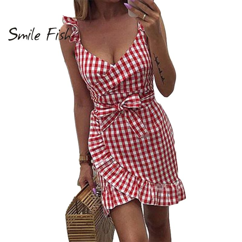 2019 nouveau été rouge robe à carreaux Vintage plage Boho robe Streetwear volants Spaghetti sangle v-cou Sexy fête femmes robe M0476
