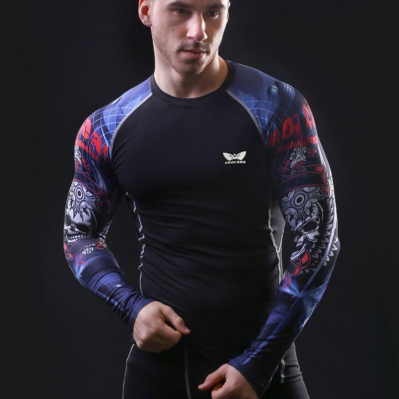Hommes Compression manches Longues Respirant À Séchage Rapide T-shirts de Musculation haltérophilie Base Couche Fitness Serré Tops T-shirt