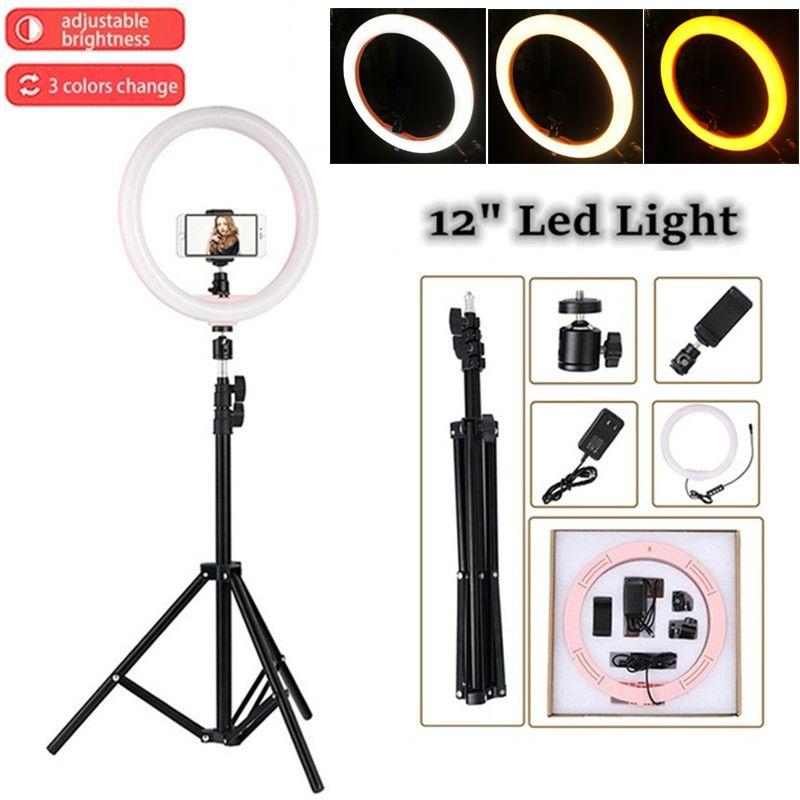 Tycipy LED anneau lumière 2700 K-5500 K 24 W Photo Studio 12 lumière photographie Dimmable vidéo pour Smartphone avec trépied support pour téléphone