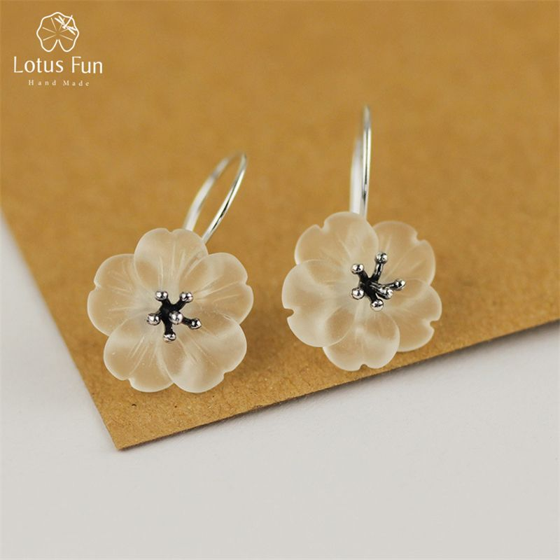 Lotus Fun Real 925 Sterling Silver Handmade Natural Crsytal Fine Jewelry Flower in the Rain Fashion Drop Earrings for Women