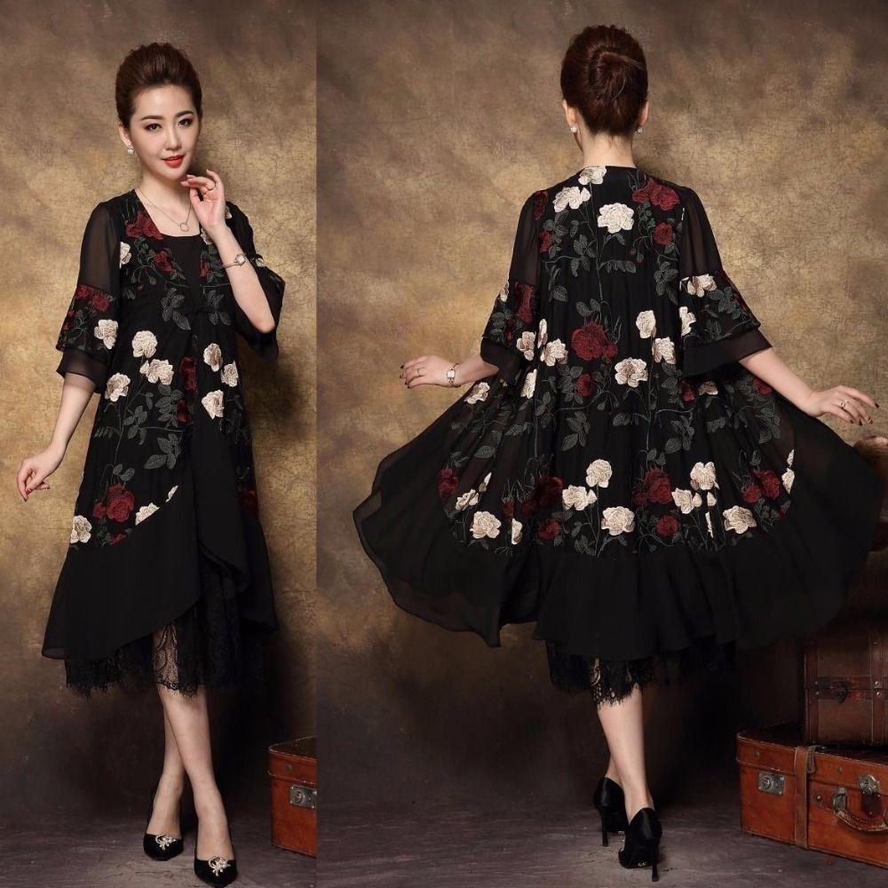 2018Autumn Middle Age Women Plus size Elegant party Dress twinset lace patchwork mesh embroidery female long dress vestidosXXXXL