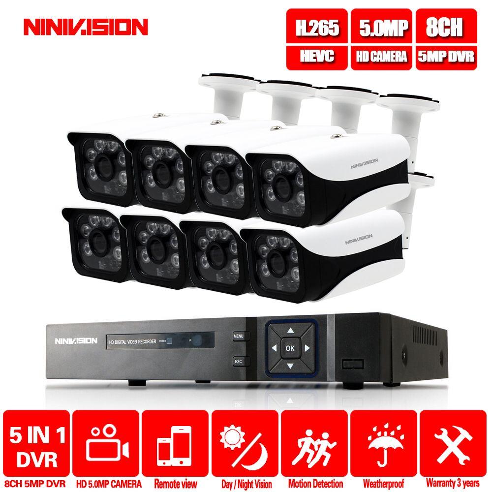 HD 5MP H.265 Video Überwachung 8 Kameras Sicherheit Kamera Set Für CCTV indoor Outdoor Sicherheit Kamera System AHD Kamera DVR p2P