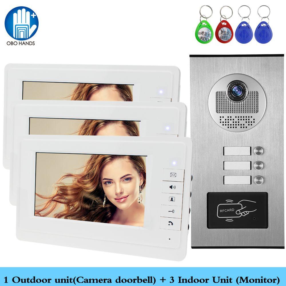 Wired Home 7 ''Farb-video-gegensprechanlage RFID Kamera Türklingel mit 2/3/4 Monitore Video-türsprech 500 benutzer für multi wohnungen