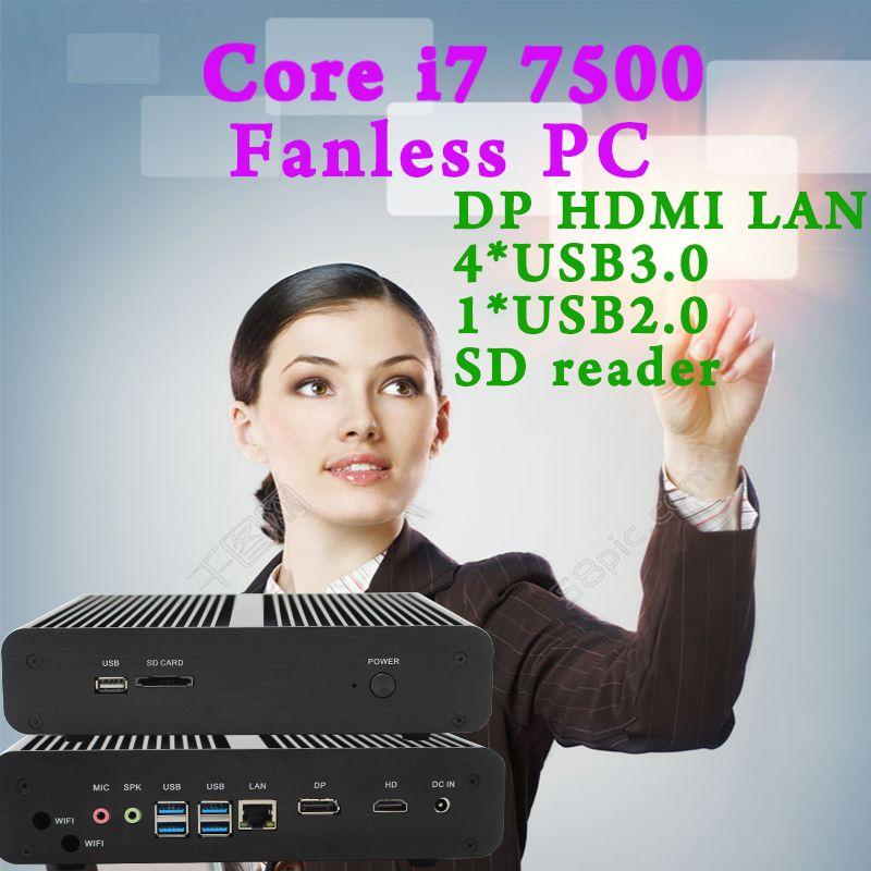 MINI PC 7e Generación Intel Core i7 7500U Kaby Lac Max 3.5 GHz Intel HD Graphics 620 Micro 4 K Windows 10 Linux Ordenador HTPC Negro