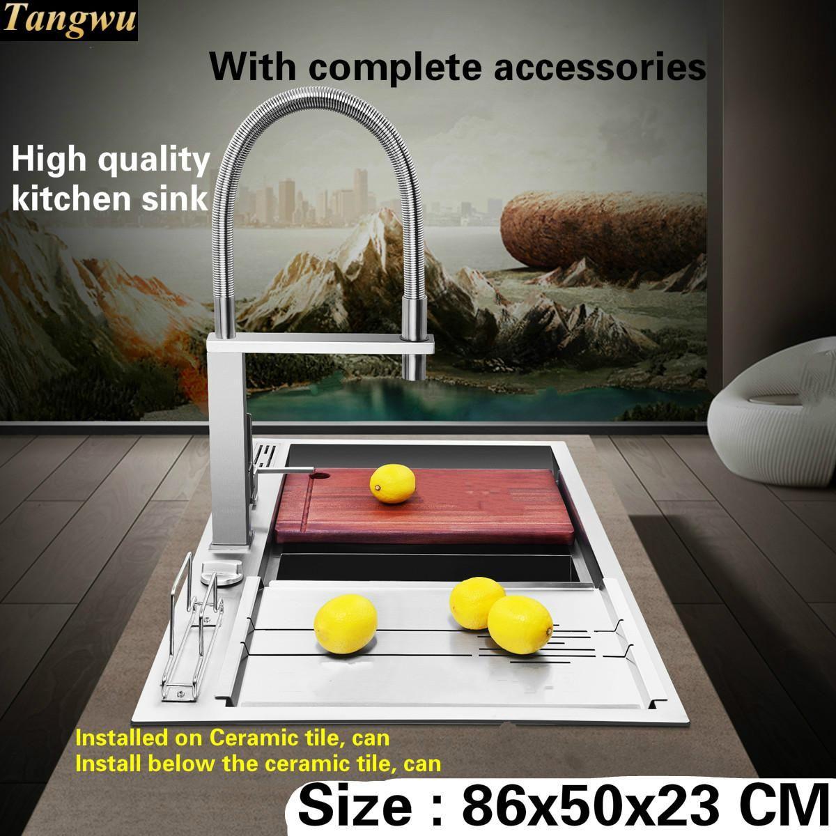 Tangwu Luxuriöse und hochwertige küche waschbecken taste drainage 4mm dicke lebensmittelqualität edelstahl double groove große 86x50x23 CM
