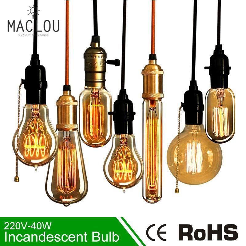 Retro Edison Light Bulb E27 220V 40W ST64 G95 Lamp Vintage Incandescent Bulb Edison Lampada Lamp Filament pendant light For Home