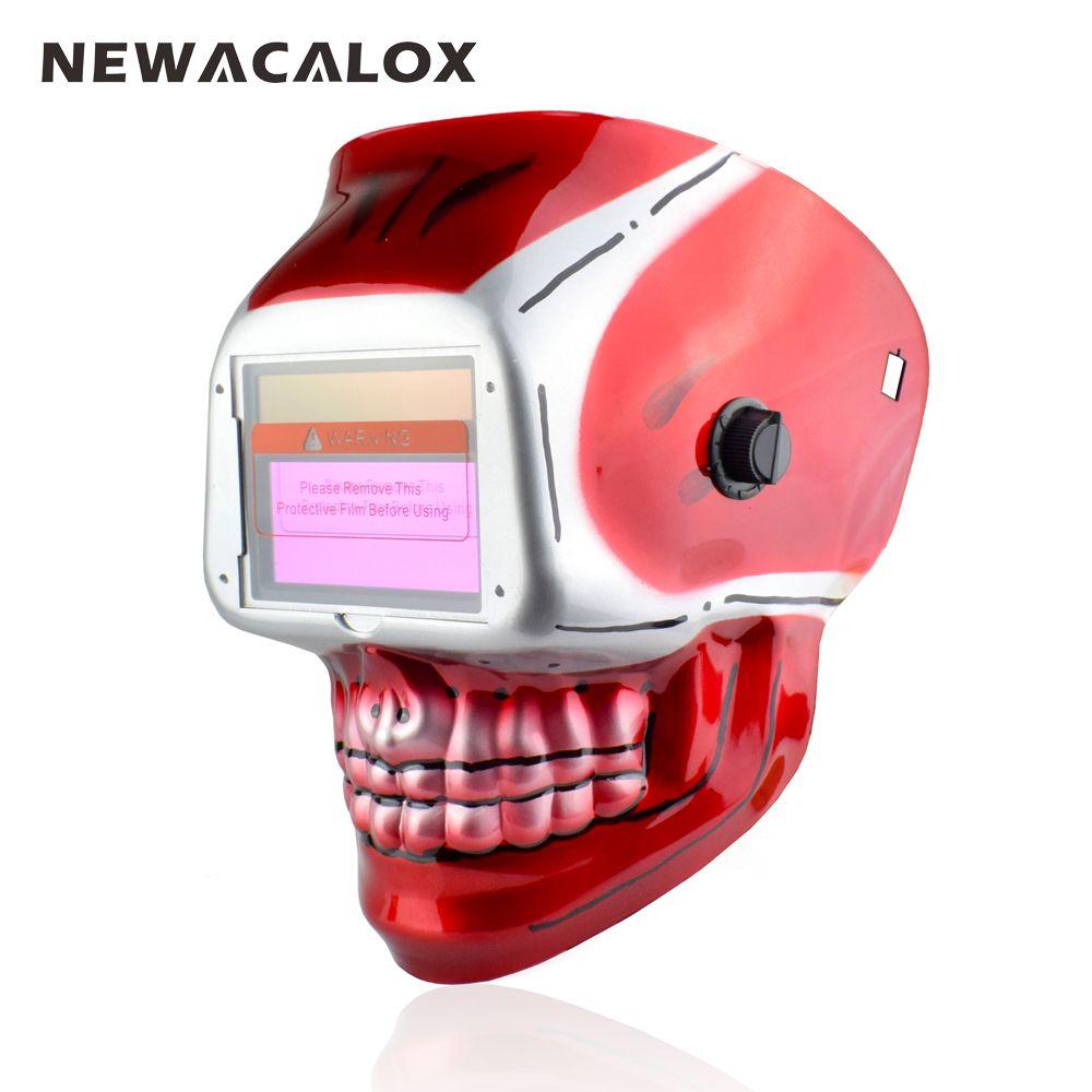 NEWACALOX Skull Helmet Stepless Adjust Solar Auto Darkening TIG MIG Electric Welding Mask/Helmet/ Welding Lens Welding Machine