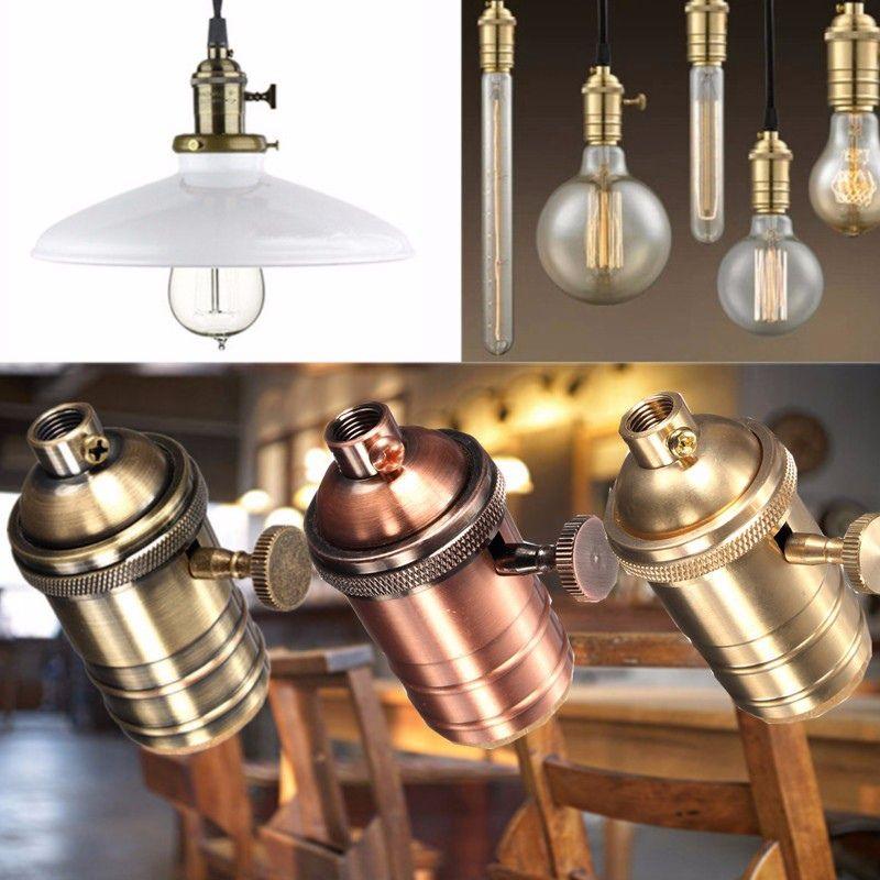 Licht Basis E26/E27 Solide Lampe Sockel Vintage Edison-birne Basis Lampe Halter Industrielle Glühbirne Anhänger 2 Way knopf