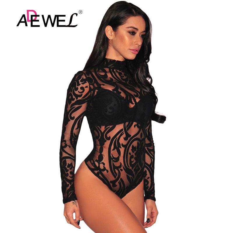 ADEWEL noir extensible col roulé à manches longues Sexy dentelle Body 2019 nouveau printemps maille Body pour femmes barboteuses Body Feminino