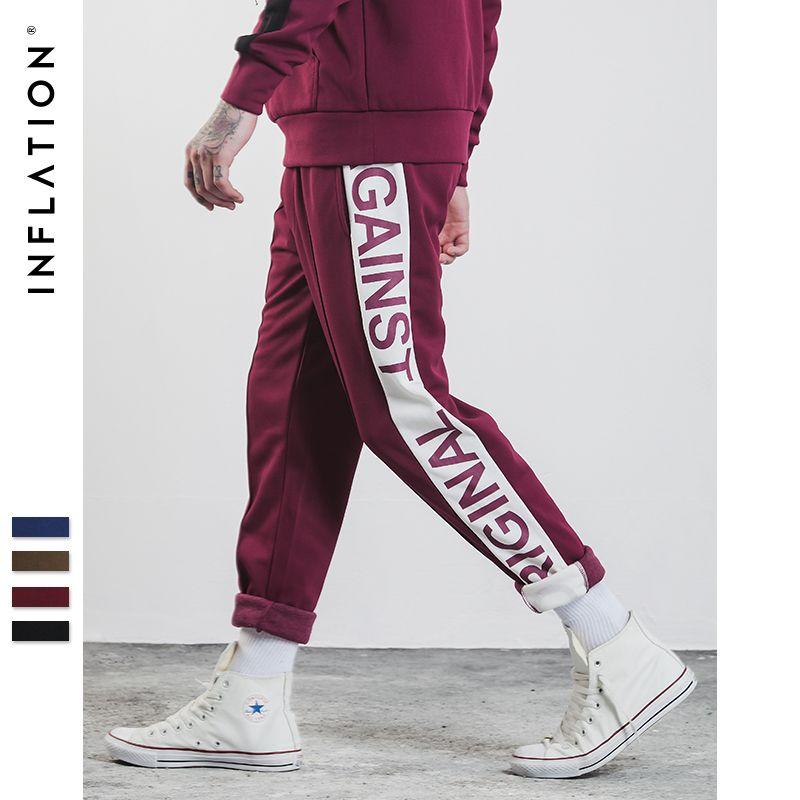 INFLATION 2018 Mens Sportswear Pants Side Stripe Pockets Sweatpants Men Urban School Style Jogger Track Pants Unisex 359W17