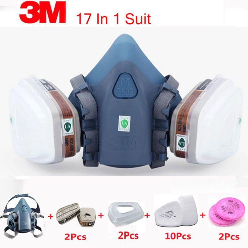 3 M 7502 masque respiratoire 17 en 1 costume industrie peinture Spray poussière masque à gaz avec 3 M 501 5N11 6001CN chimique demi masque
