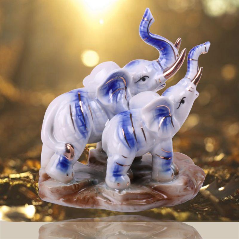 Figurine d'éléphant pour la décoration de la maison accessoires de décoration en céramique Miniature maison Souvenirs artisanat Miniatures ornements Sculpture
