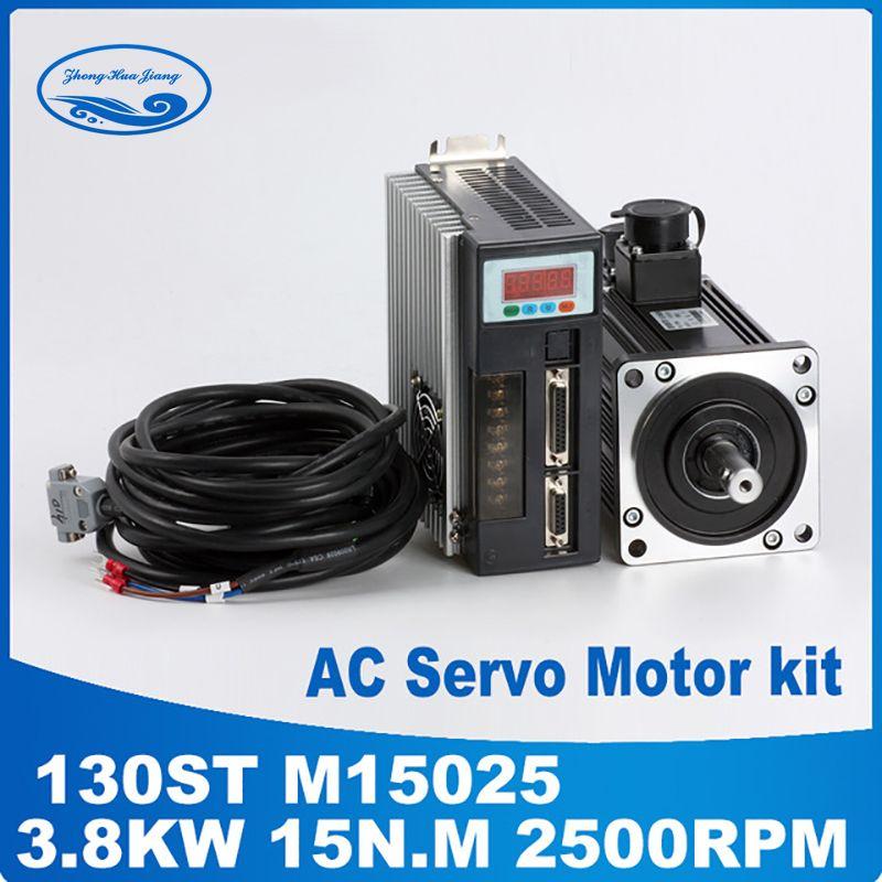 3.8KW 130ST-M15025 130ST AC servo motor 15N. M 2500 rpm AC Servomotor und fahrer mit kabel High-power
