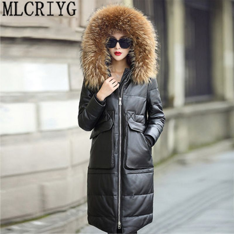 Winter Warm Thick Duck Down Jacket Women Parkas New 2018 Genuine Leather Jackets Female Natual Fur Overcoat jaqueta de couro