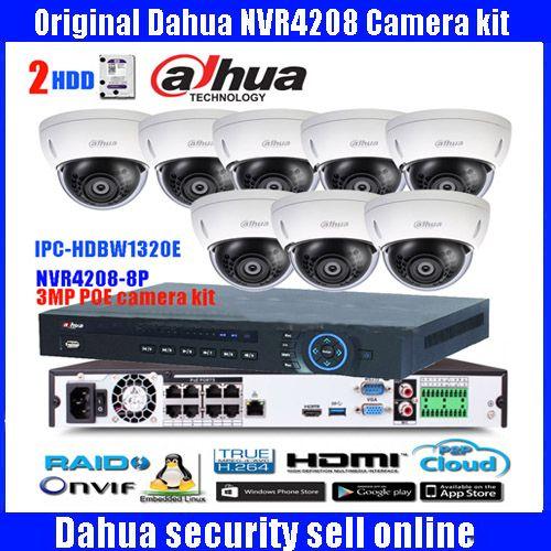 Original ENGLISH dahua 8PoE H265 NVR Network Video Recorder NVR4208-8P-4KS2 with 8PCS IPC-HDBW1320E 3MP POE IP67 dome IP camera