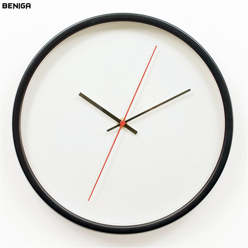 12 inch Modern White Black Red Wall Clock Vogue European Exquisite Minimalist Metal Frame Silent Mute Wall Clock for Home Decor