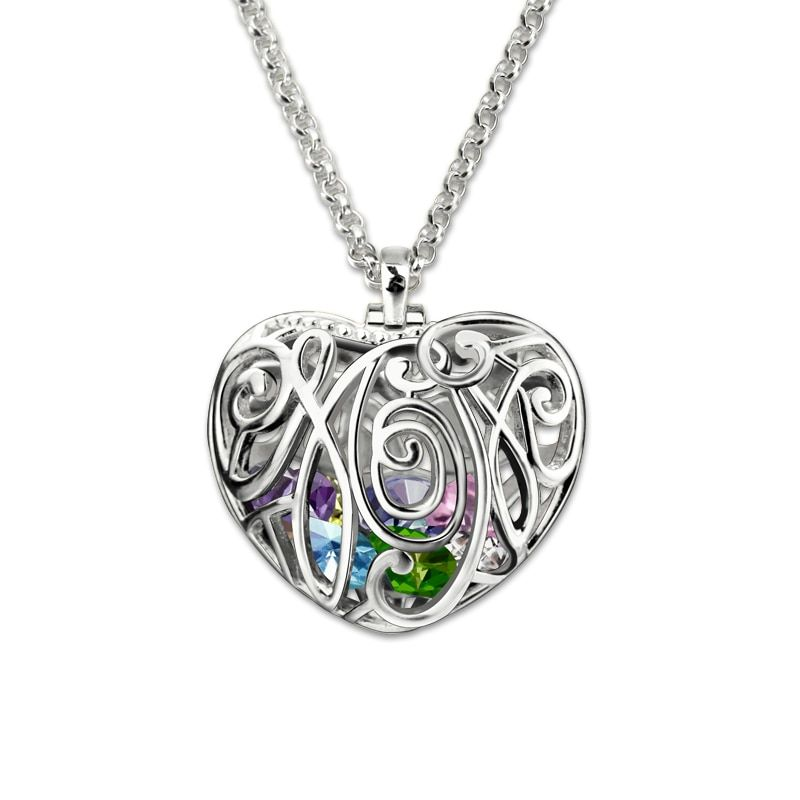 Mothers Jewelry Personalized Heart Cage Pendant With Birthstones Silver Family in Heart Necklace Unique Gifts for Mother