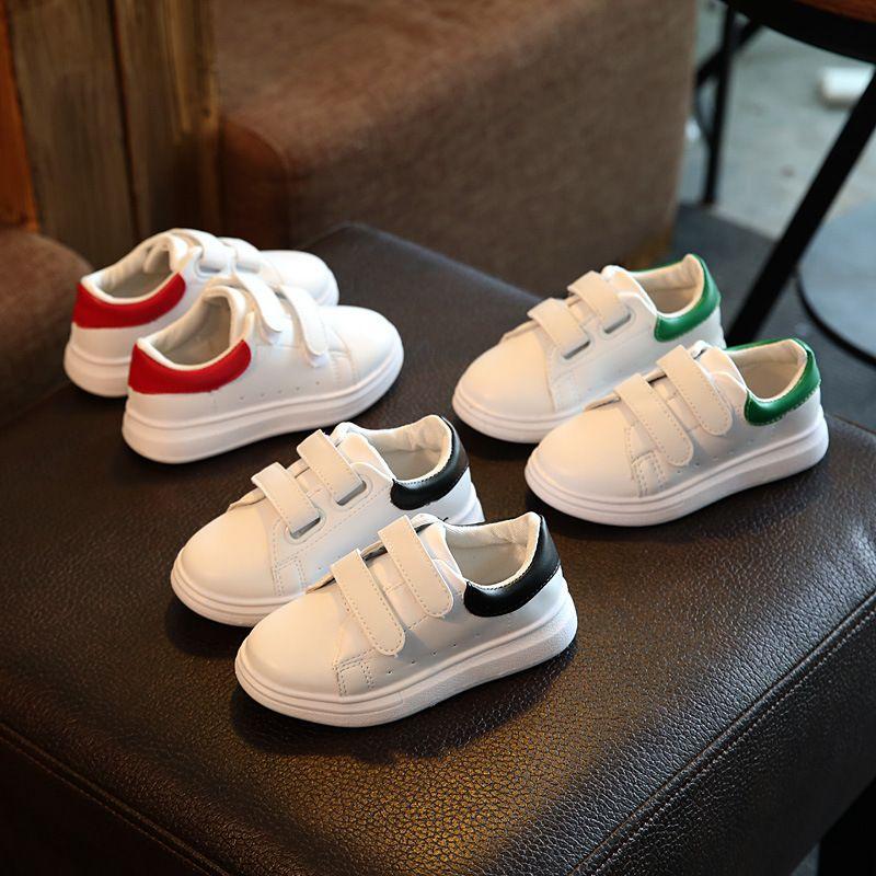 Enfants s chaussures 2018 printemps et automne en peluche imperméable en cuir garçons et filles loisirs sports blanc course trail chaussures véritable