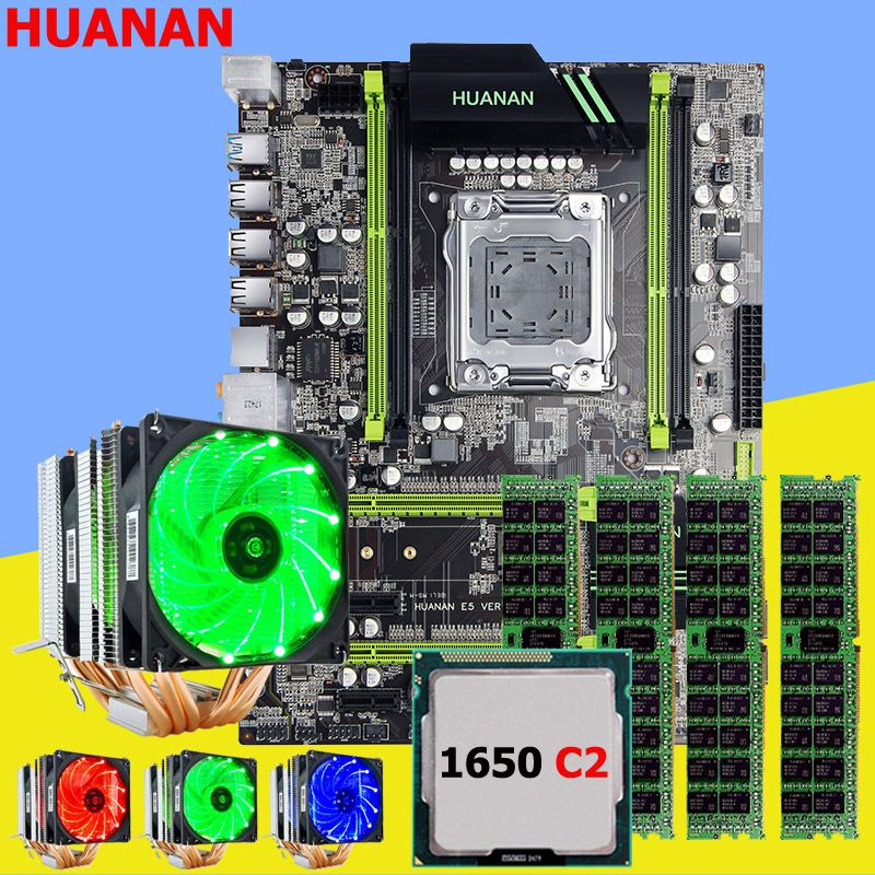 Motherboard with M.2 slot HUANAN ZHI X79 motherboard with CPU Xeon E5 1650 C2 3.2GHz with cooler RAM 32G(4*8G) DDR3 1600 RECC