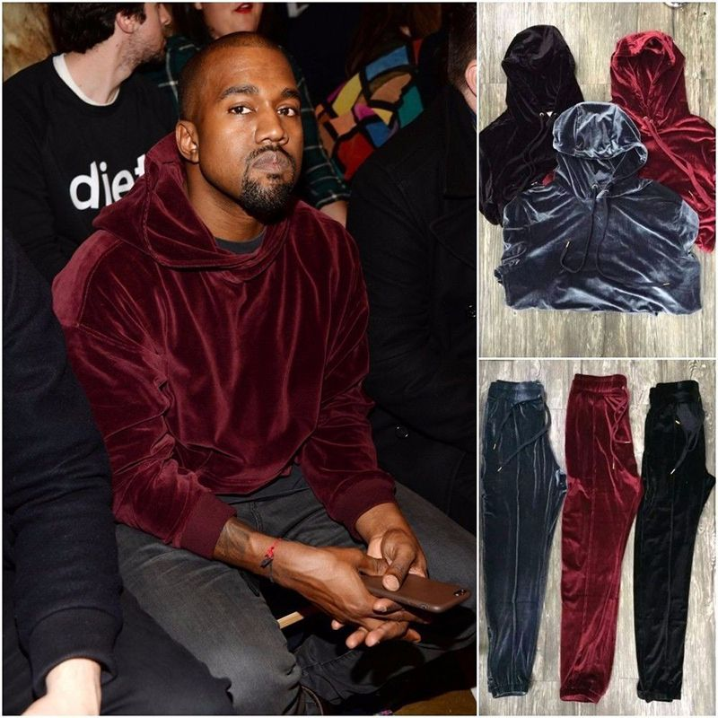 Sweat à capuche homme velours Kanye West Streetwear couleur unie velours sweat à capuche pour homme pulls Hip Hop sweats noir/rouge/gris